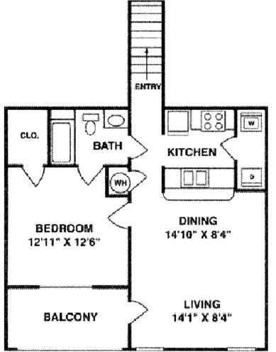 887 sq. ft. A3 Upper floor plan