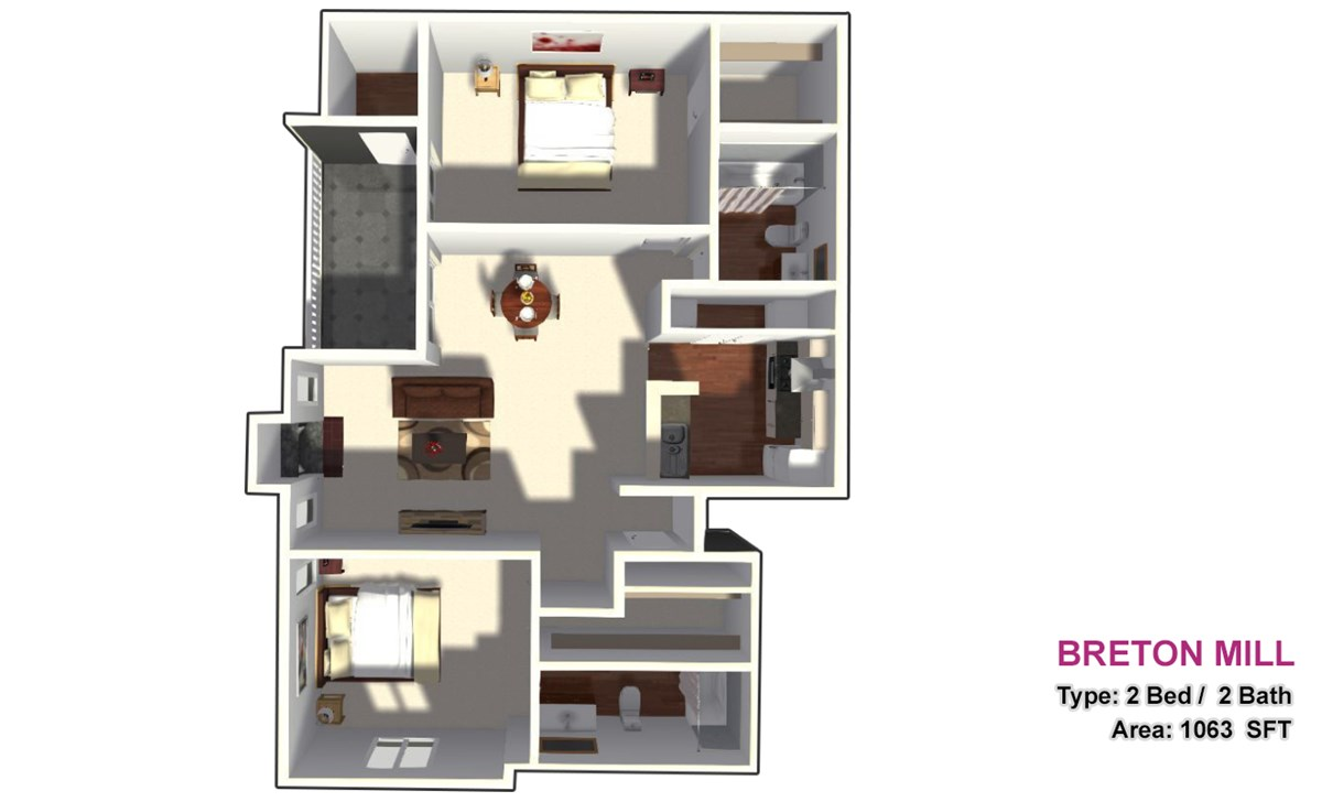 1,063 sq. ft. 2C floor plan