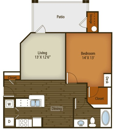 795 sq. ft. to 805 sq. ft. A2 floor plan