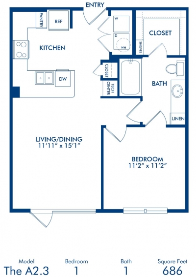 686 sq. ft. A2.3 floor plan
