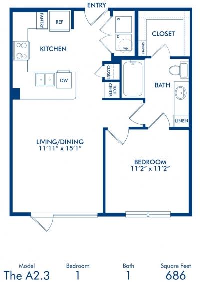 686 sq. ft. A2.3 floor plan