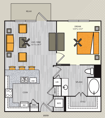 581 sq. ft. S2 floor plan
