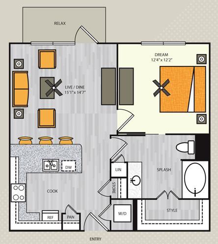 581 sq. ft. S2 floor plan