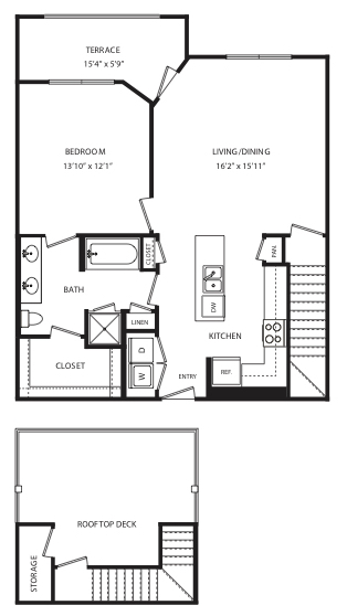889 sq. ft. A14 floor plan