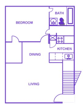 723 sq. ft. C/60% floor plan