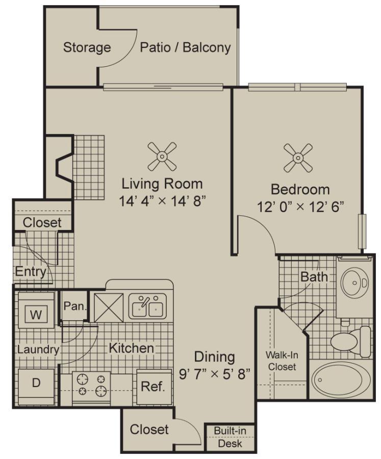 692 sq. ft. A1 floor plan