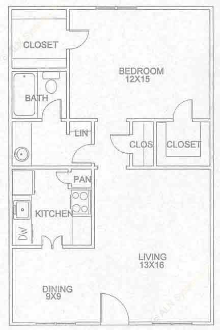 714 sq. ft. A-1-D floor plan