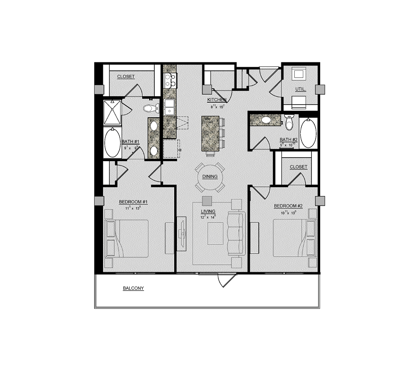 1,205 sq. ft. Camelia floor plan