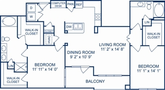 1,371 sq. ft. Tuscany floor plan