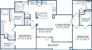 1,371 sq. ft. Tuscany floor plan