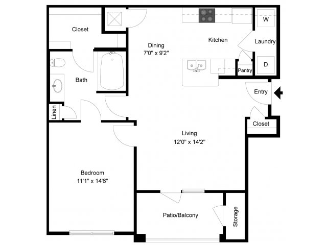 789 sq. ft. Adobe Exterior floor plan