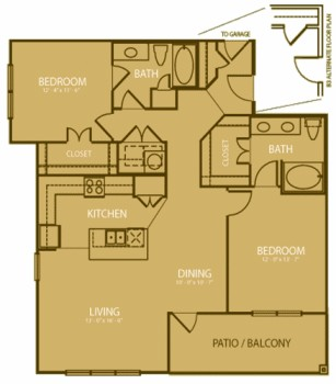 1,213 sq. ft. Medinah floor plan