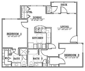950 sq. ft. B2/60% floor plan