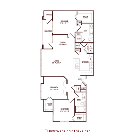 1,360 sq. ft. Water Oak floor plan