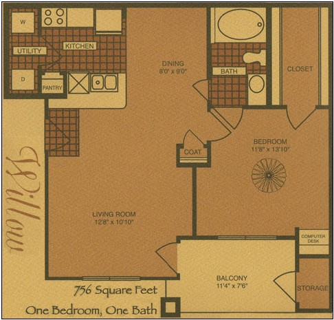 756 sq. ft. A2 floor plan