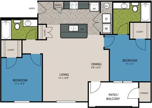 985 sq. ft. B3 floor plan