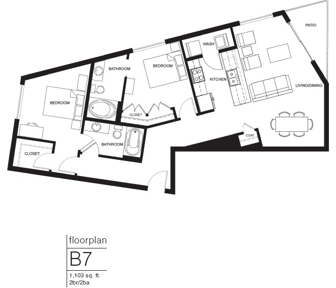 1,103 sq. ft. B7 floor plan
