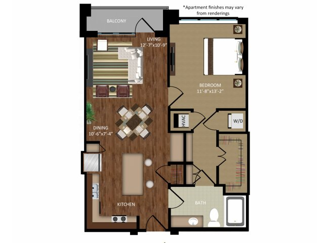 841 sq. ft. A6 floor plan