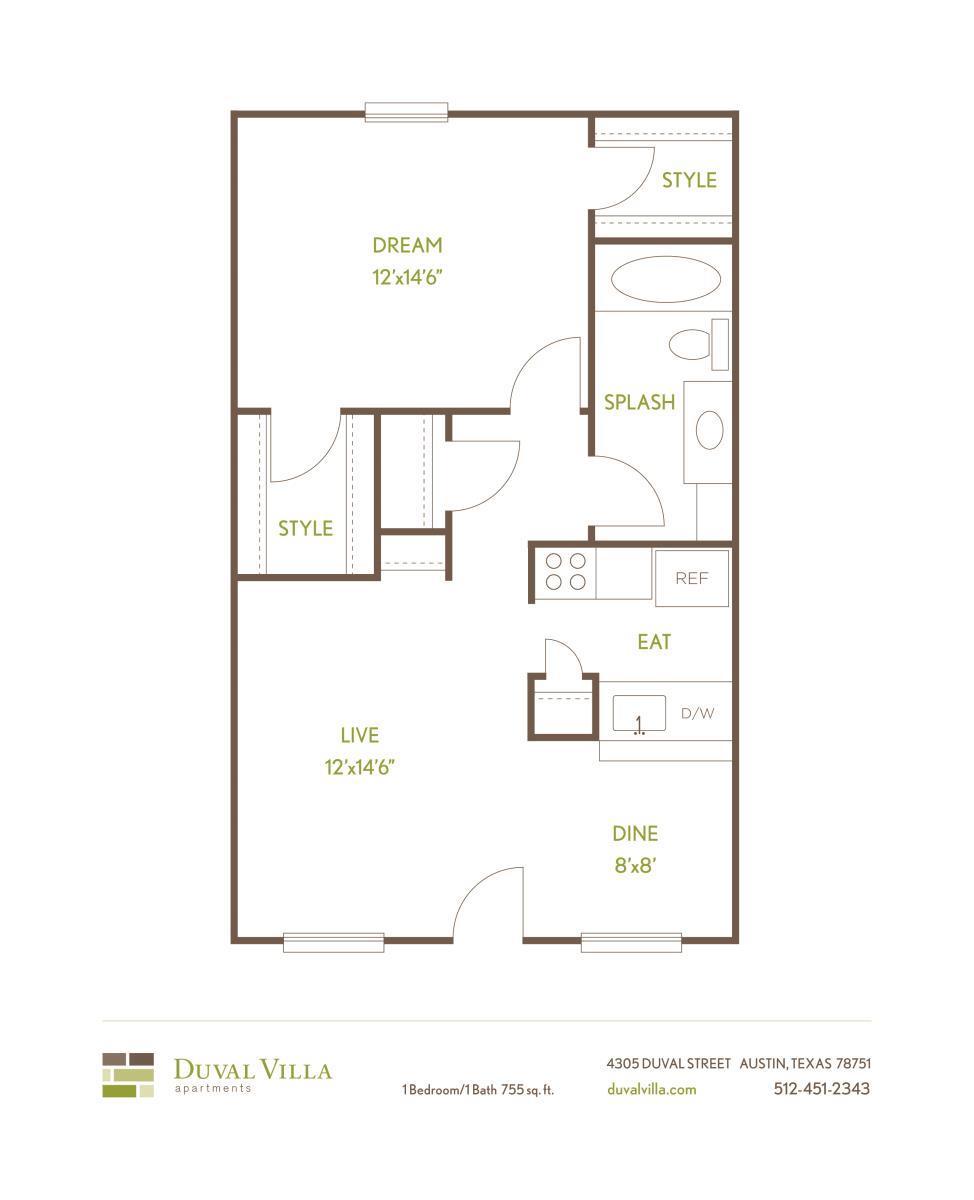 755 sq. ft. A floor plan