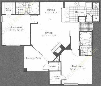 1,069 sq. ft. Normandy floor plan