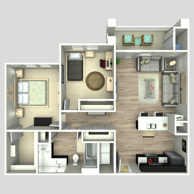 882 sq. ft. B1 floor plan