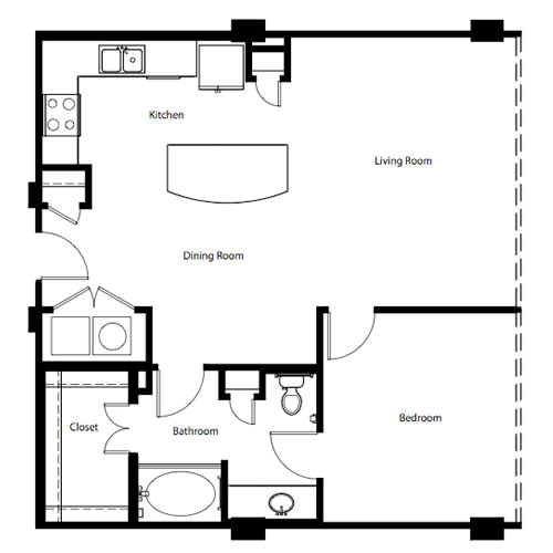 908 sq. ft. A4E floor plan