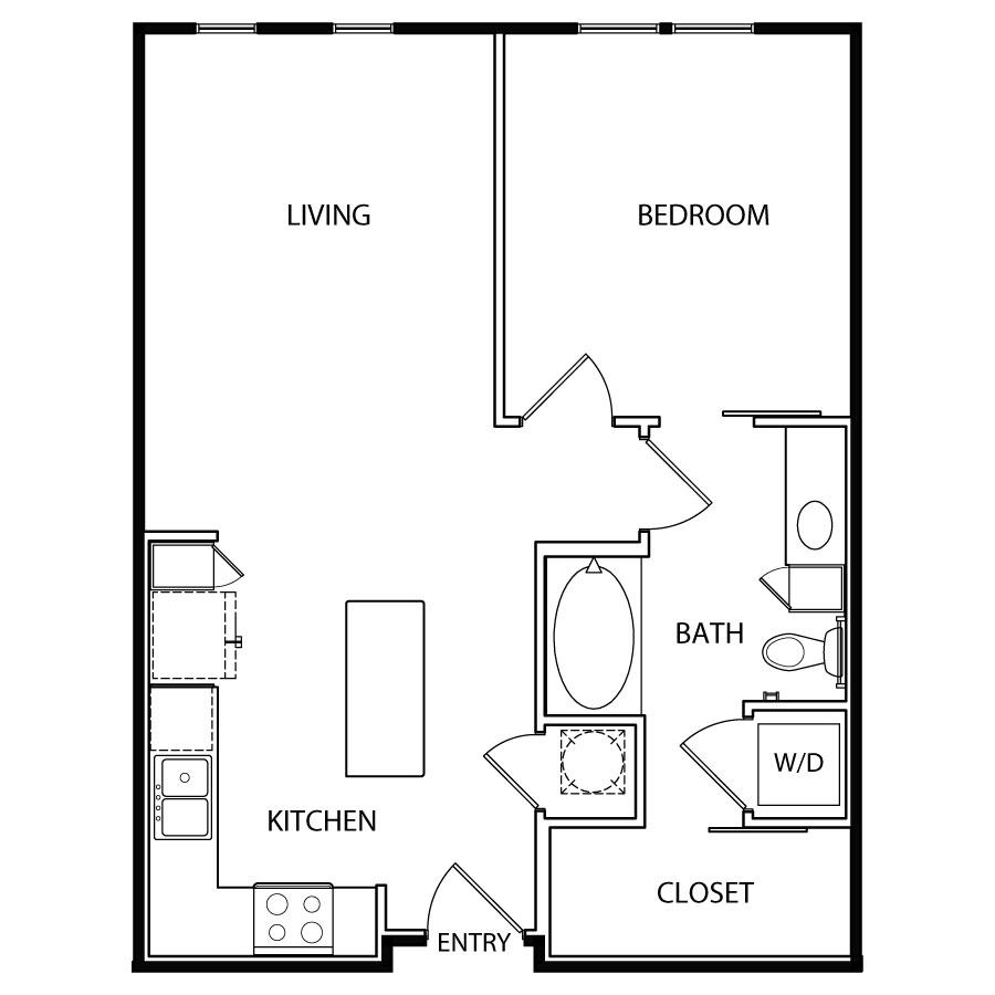 692 sq. ft. A3 floor plan