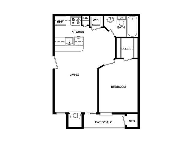 486 sq. ft. II/A floor plan