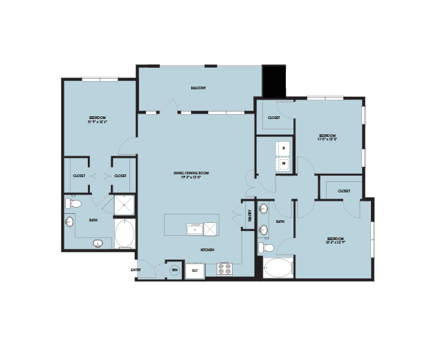1,486 sq. ft. C1 ANSI floor plan