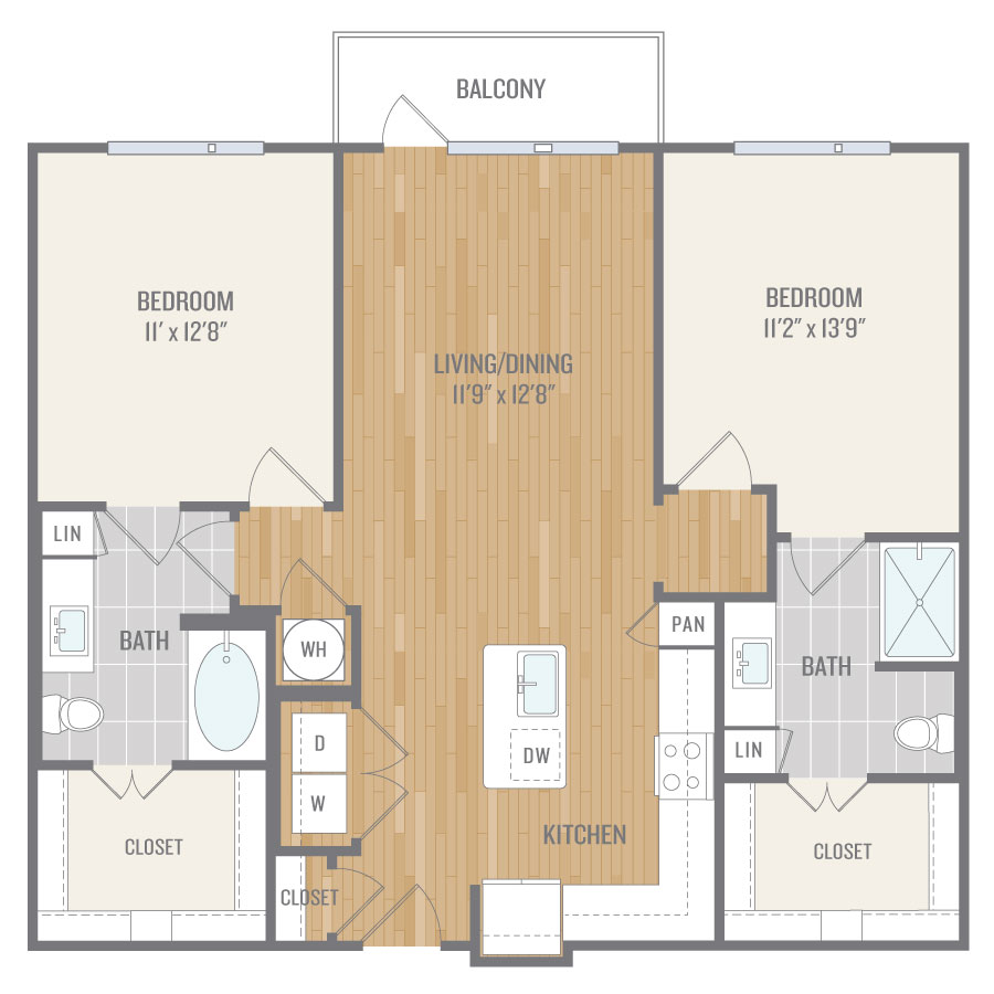1,119 sq. ft. B1 floor plan