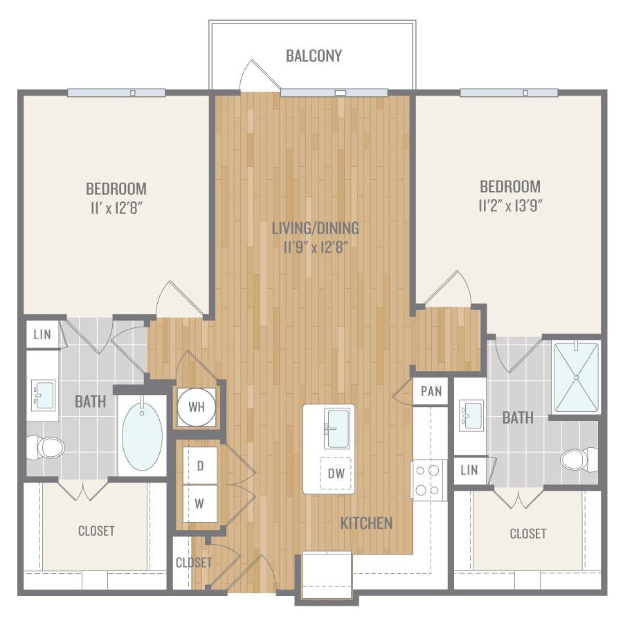 1,119 sq. ft. B1 floor plan