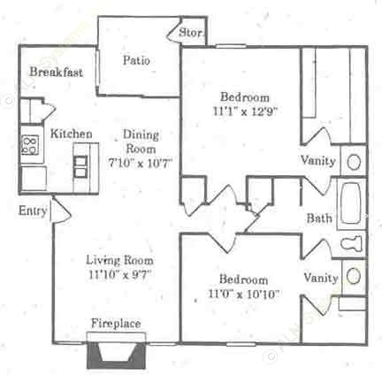 940 sq. ft. B1/Colorado floor plan