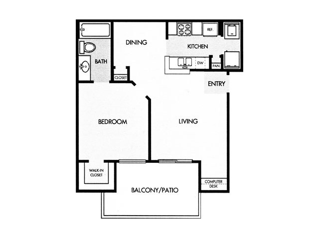 643 sq. ft. B floor plan