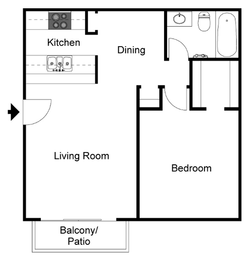 558 sq. ft. A3 floor plan