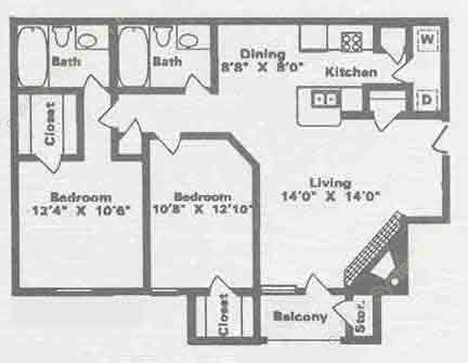 884 sq. ft. B3 floor plan