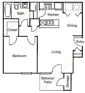 642 sq. ft. A1 floor plan