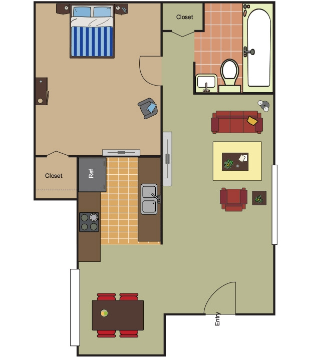 670 sq. ft. A-1 floor plan