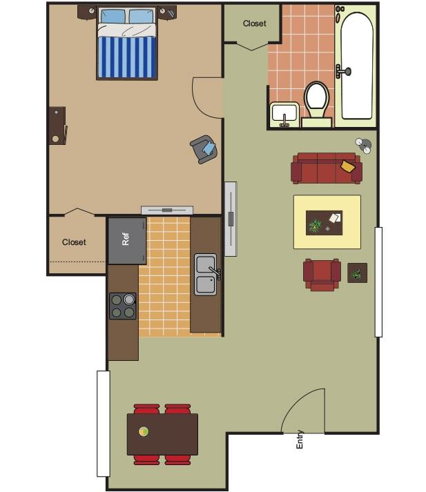 670 sq. ft. A-1 floor plan