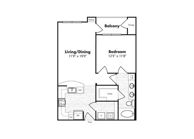 727 sq. ft. St Thomas floor plan