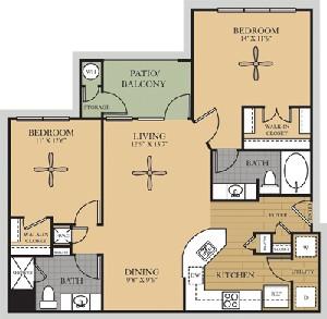 1,096 sq. ft. B1/Colorado floor plan