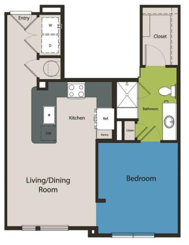 656 sq. ft. E1 floor plan