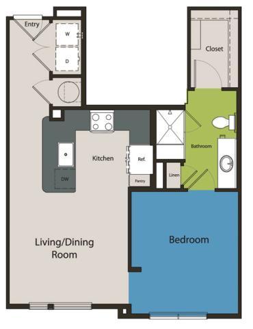 656 sq. ft. E1 floor plan