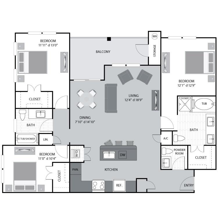 1,462 sq. ft. C1 floor plan