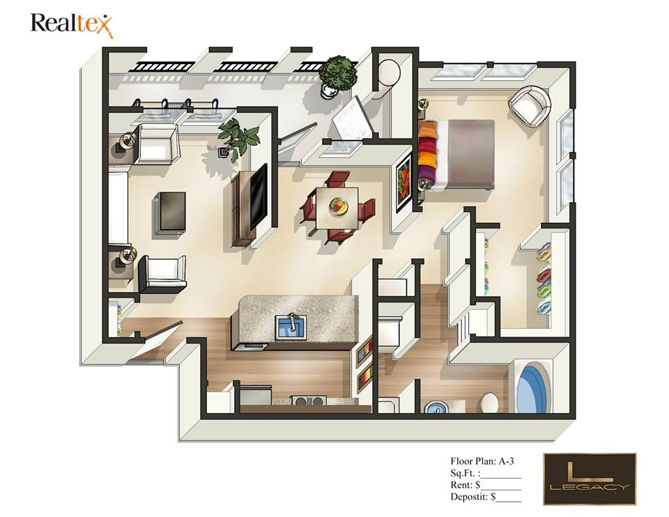 759 sq. ft. A3 floor plan