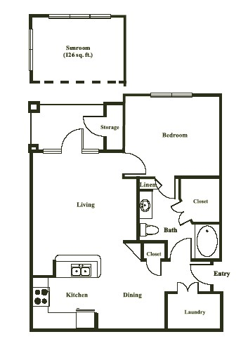 796 sq. ft. MADRID floor plan