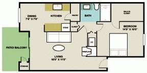 700 sq. ft. 1B1 floor plan