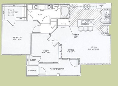 943 sq. ft. Agean floor plan