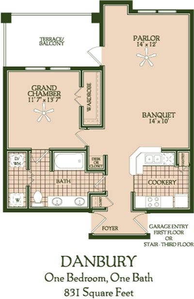 831 sq. ft. Danbury floor plan