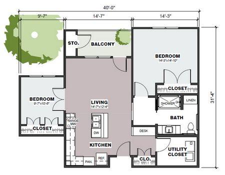 963 sq. ft. Mercer/60% floor plan