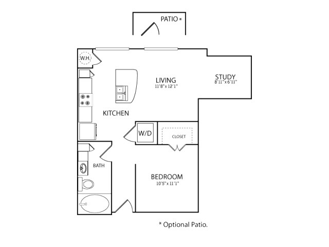 660 sq. ft. S2 floor plan